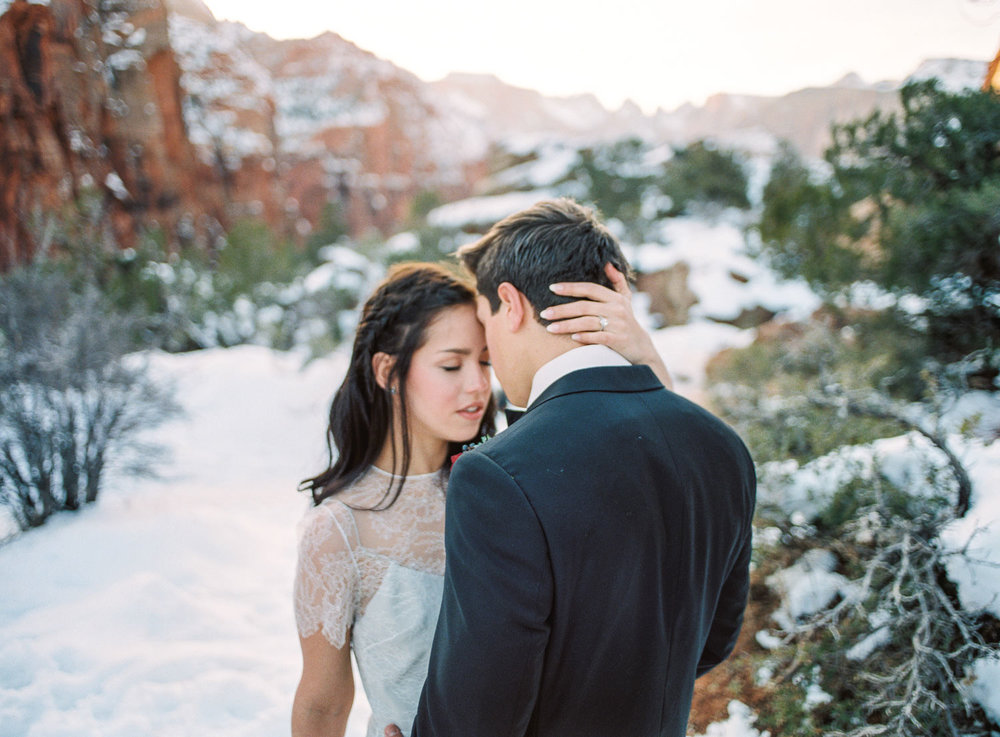 Fine Art film wedding photographer Zion National Park winter Fujifilm pro 400H