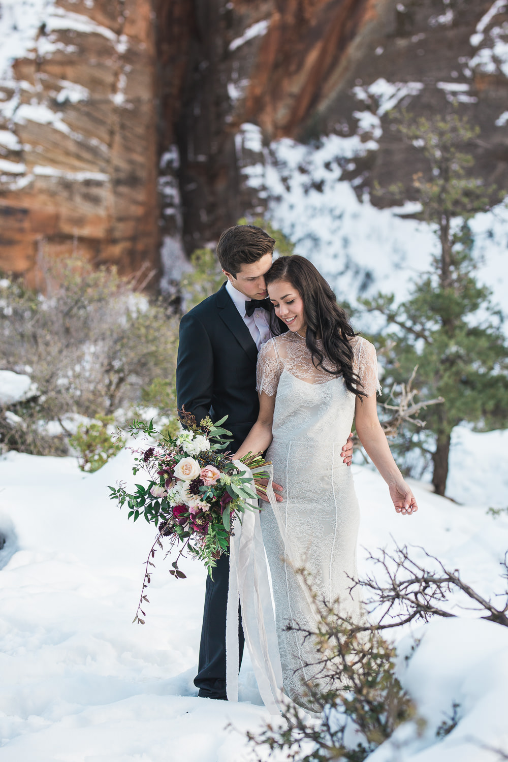 Bloomers florist silk bouquet Zion National Park elopement in winter