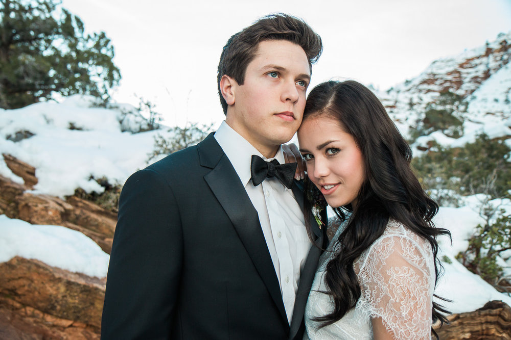 Classy wedding couple portraits Zion National Park winter
