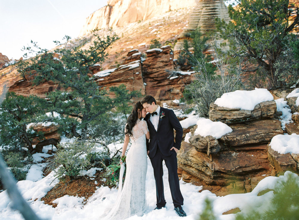 Elopement wedding film photographer Zion National Park Fuji 400h