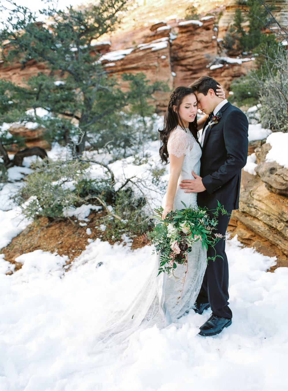 Fine art real film wedding and elopement photographer Zion National Park