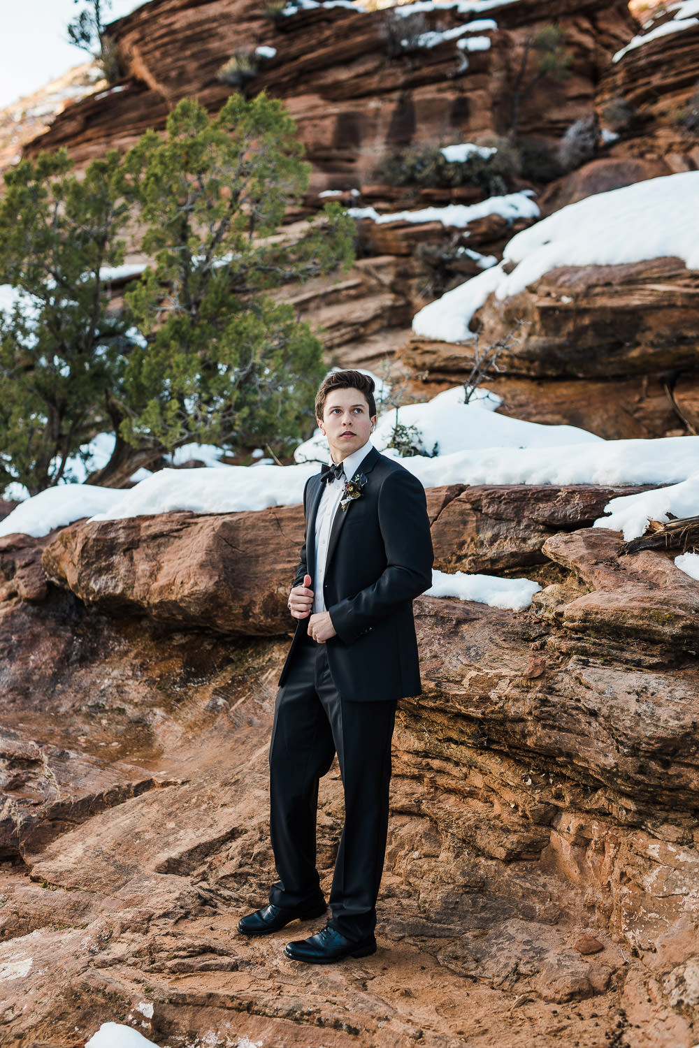 Perfectly Suited by Garth custom tux for classy groom Zion National Park