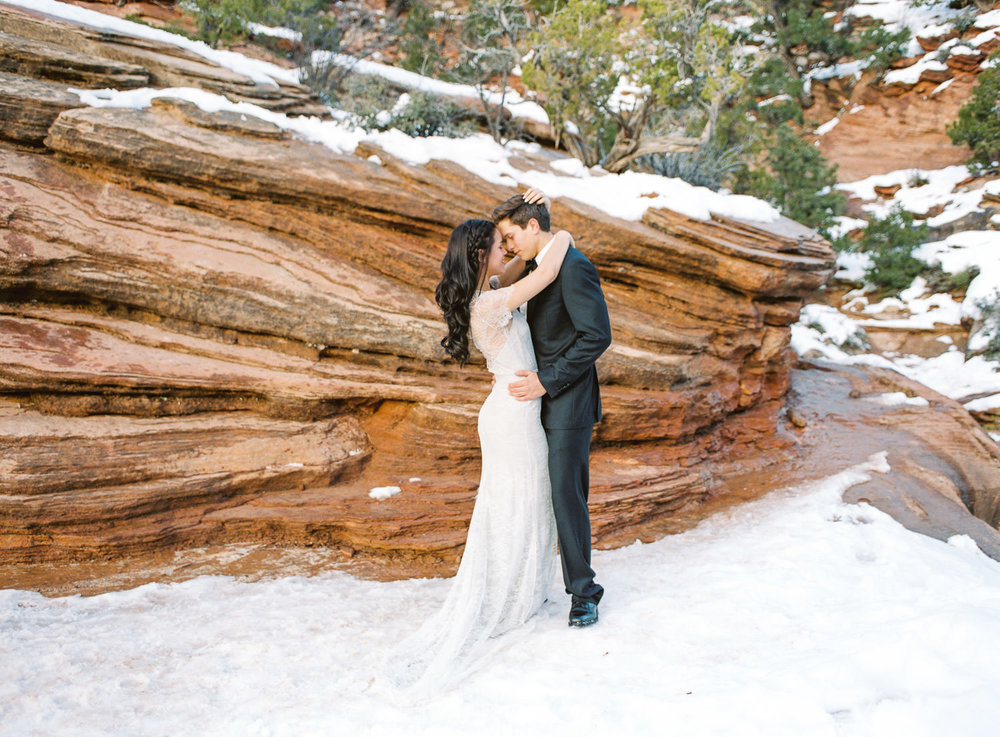 Canyon Overlook Trail Zion National Park wedding photographers Utah