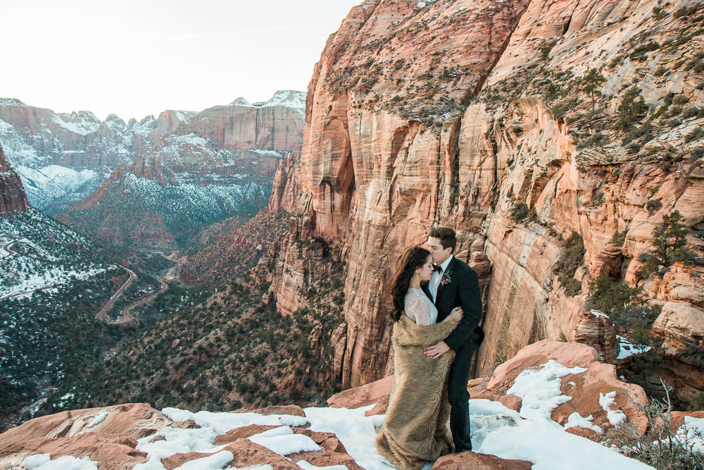 Canyon Overlook Iconic Zion National Park viewpoint wedding pictures