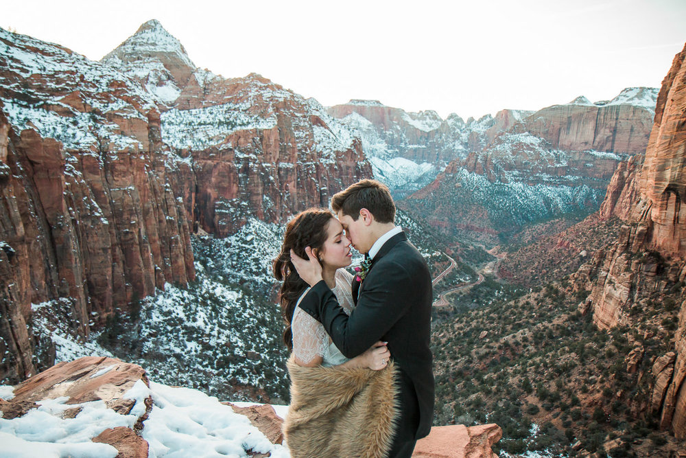 Canyon Overlook Zion National Park Epic bridals Utah wedding photographers