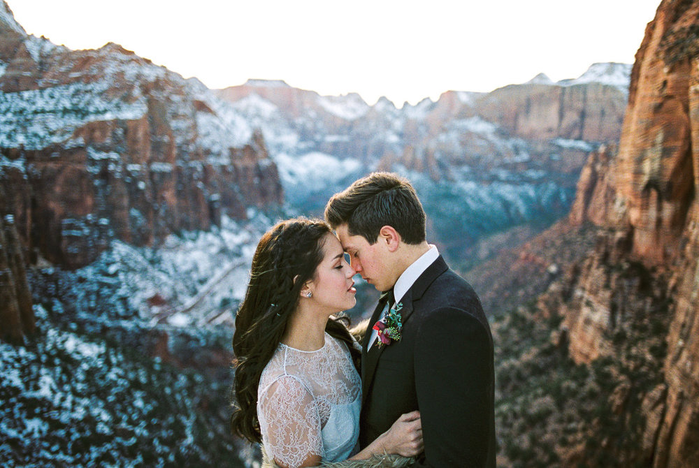Adventure elopement film photographers Zion National Park Fuji 400h