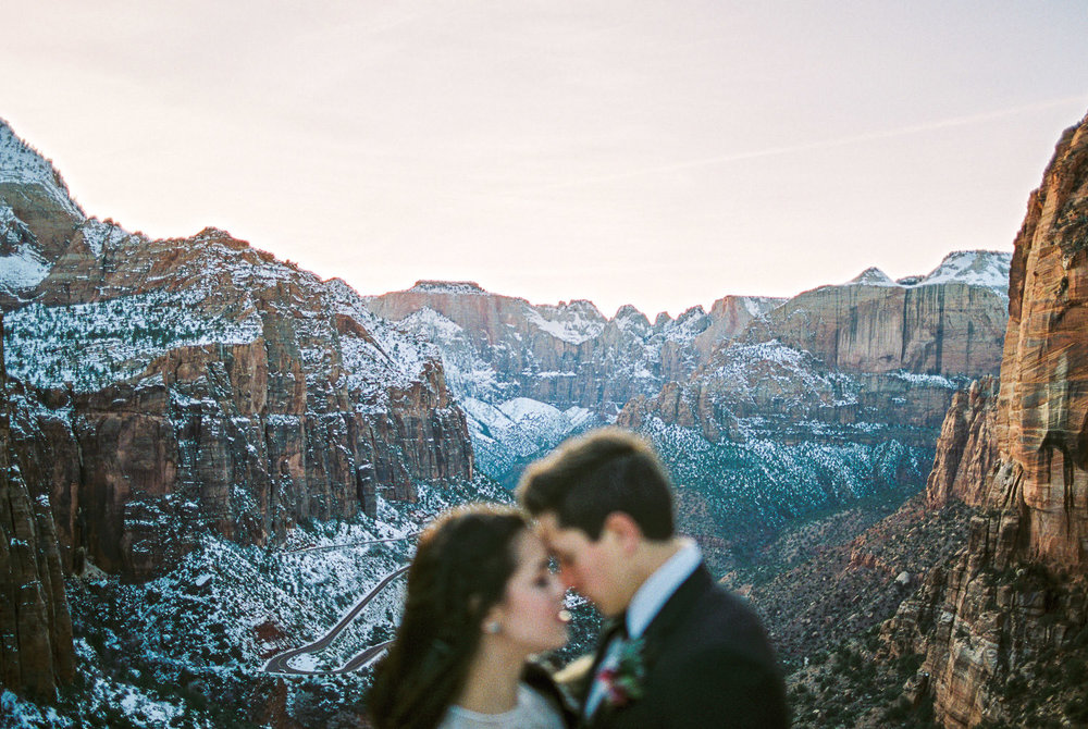 Destination Wedding Photographers real film Zion National Park Fuji 400h