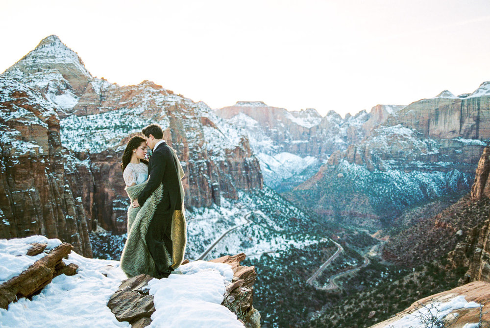Real film traveling wedding photographers Zion National Park Utah
