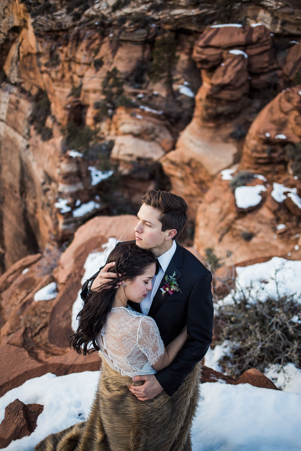 Zion in winter elope at a National Park in Utah