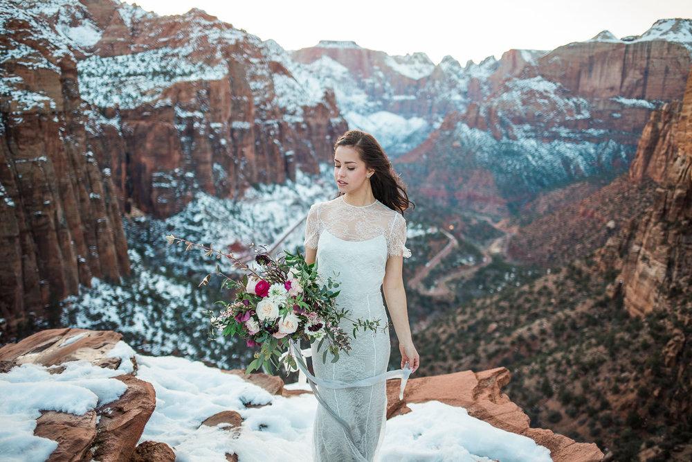 Epic landscape bridal portrait Zion National Park Alexandra Grecco Fiorella gown