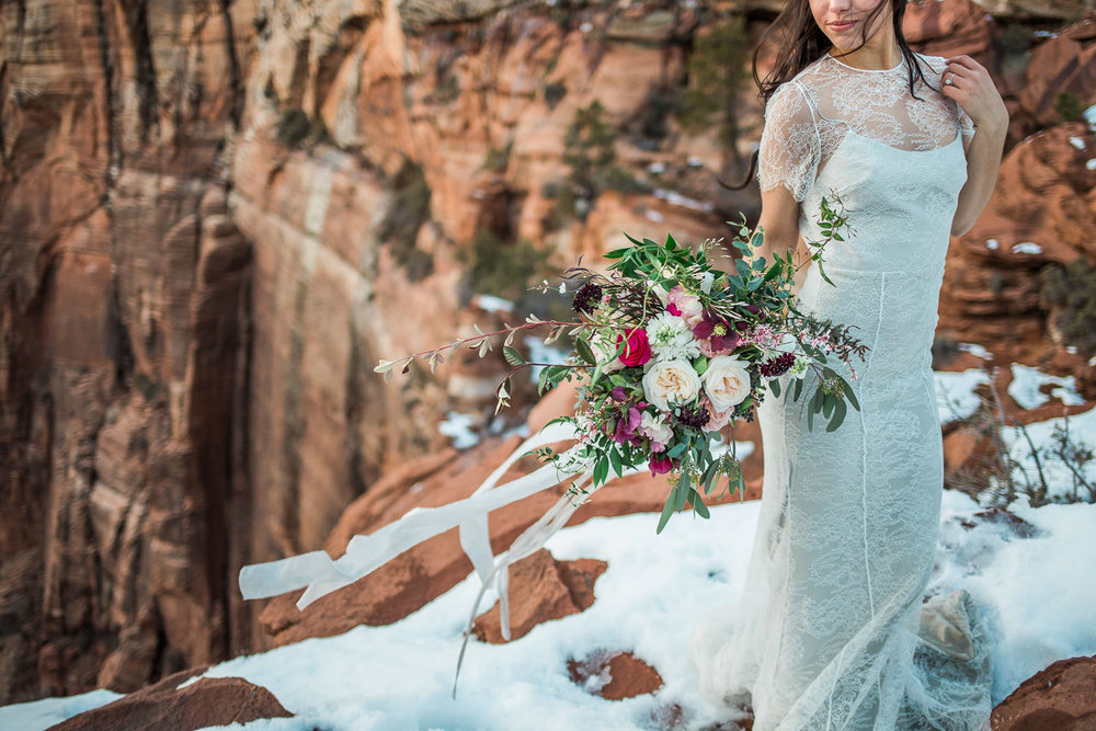 Zion National Park wedding florist By Bloomers Alexandra Grecco Fiorella wedding gown dove grey