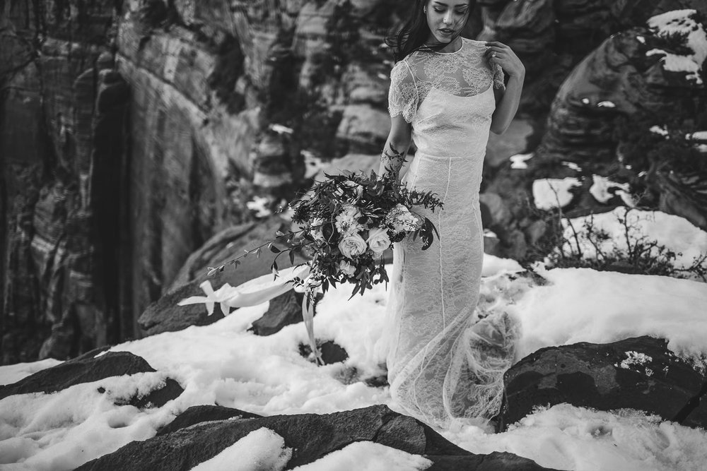Epic bridal portrait Zion National Park Wedding Canyon Overlook trail