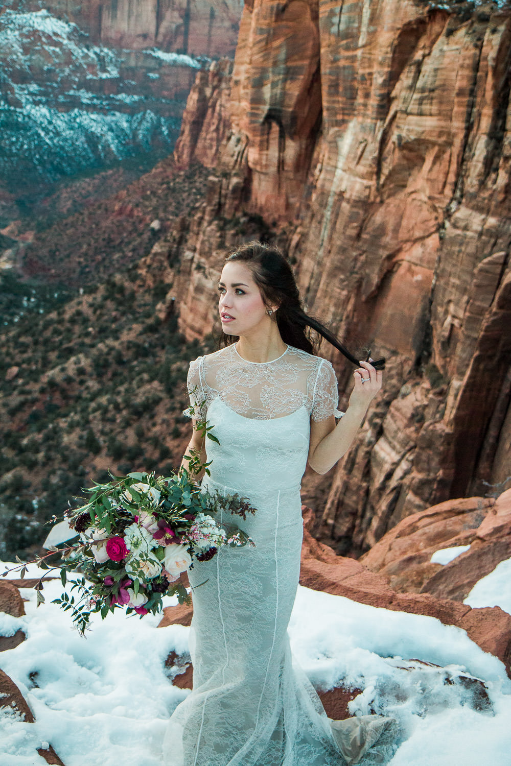 Zion National Park bride at Canyon Overlook