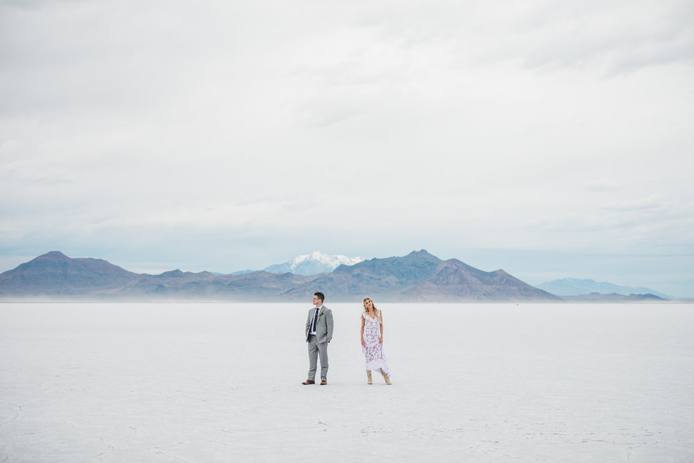 Bonneville Salt Flats Trendy Couple Wedding Bridals Utah Photographer