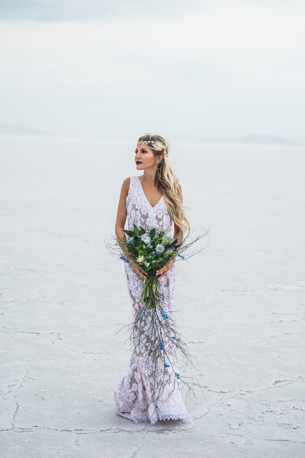 Bonneville Salt Flats Bride Portrait Danani Handmade Headpiece