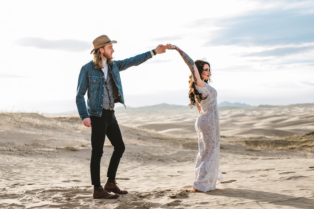 Boho Saldana Vintage Sol Dress Sand Dunes Adventure Elopement Utah