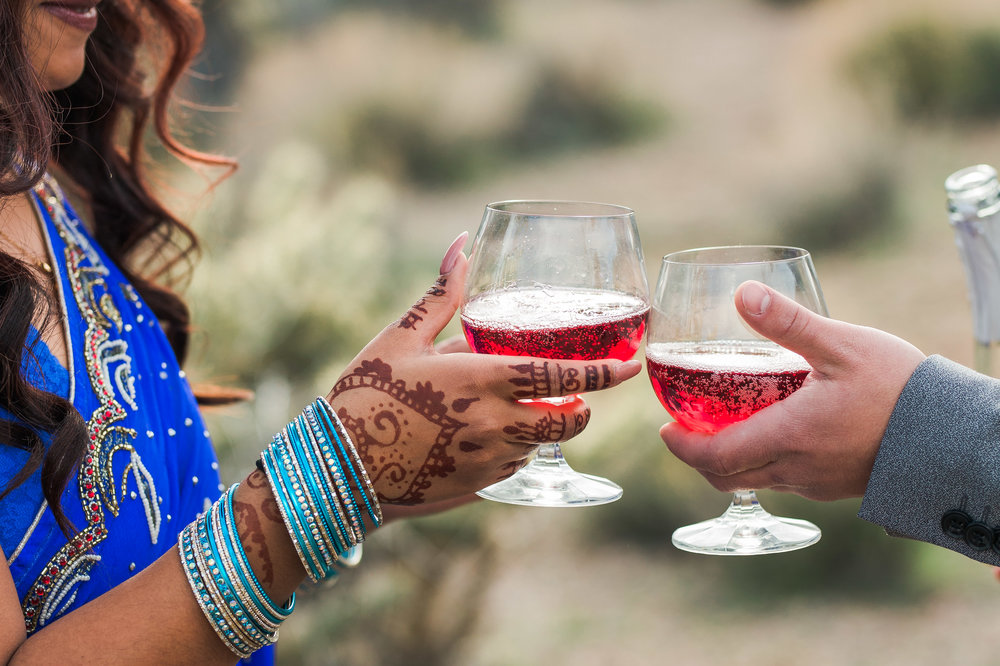Champagne in the desert to celebrate elopement Kyle Loves Tori Photography
