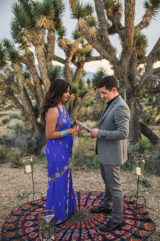 Intimate vow exchange Joshua Tree desert elopement Kyle Loves Tori Photography