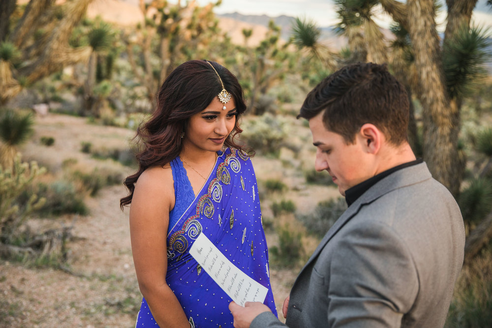 Indian bride vow exchange ceremony in the desert Kyle Loves Tori Photography