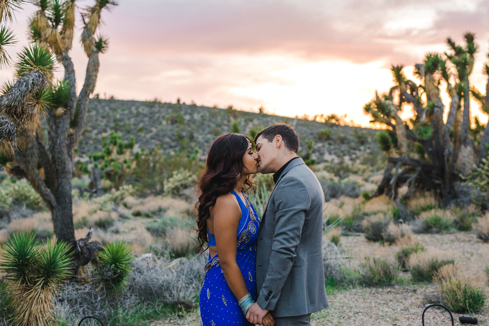 Epic sunset during Joshua tree desert elopement Kyle Loves Tori Photography