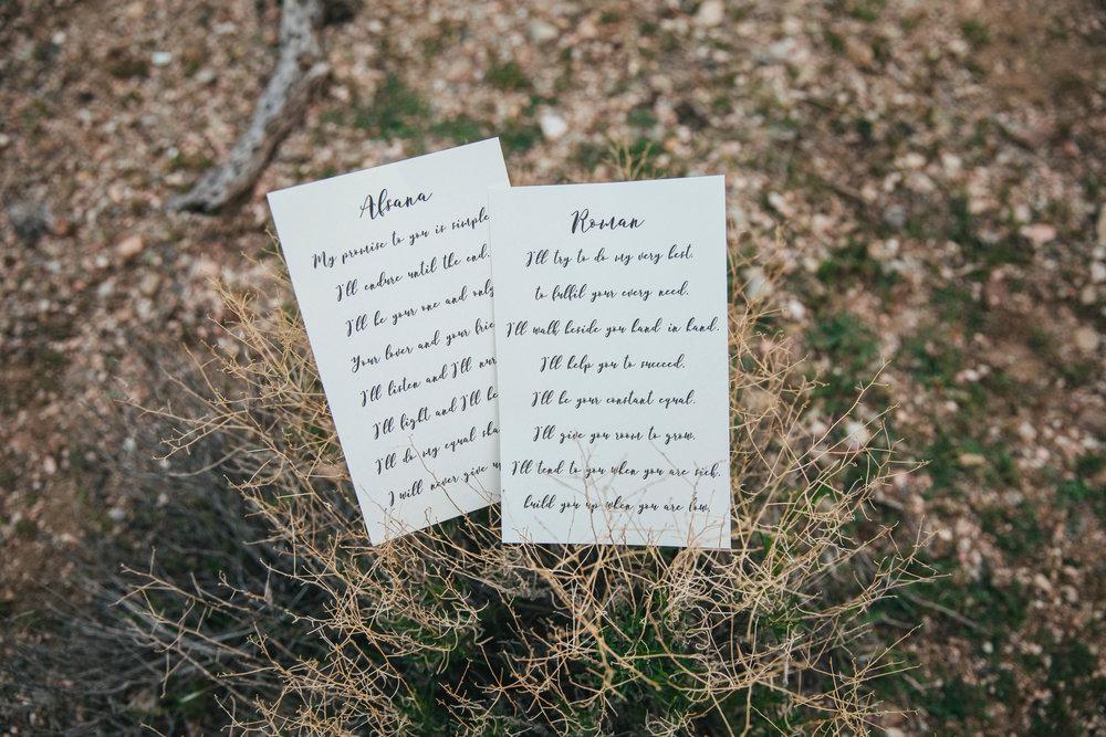 Simple wedding vows desert elopement detail Kyle Loves Tori Photography