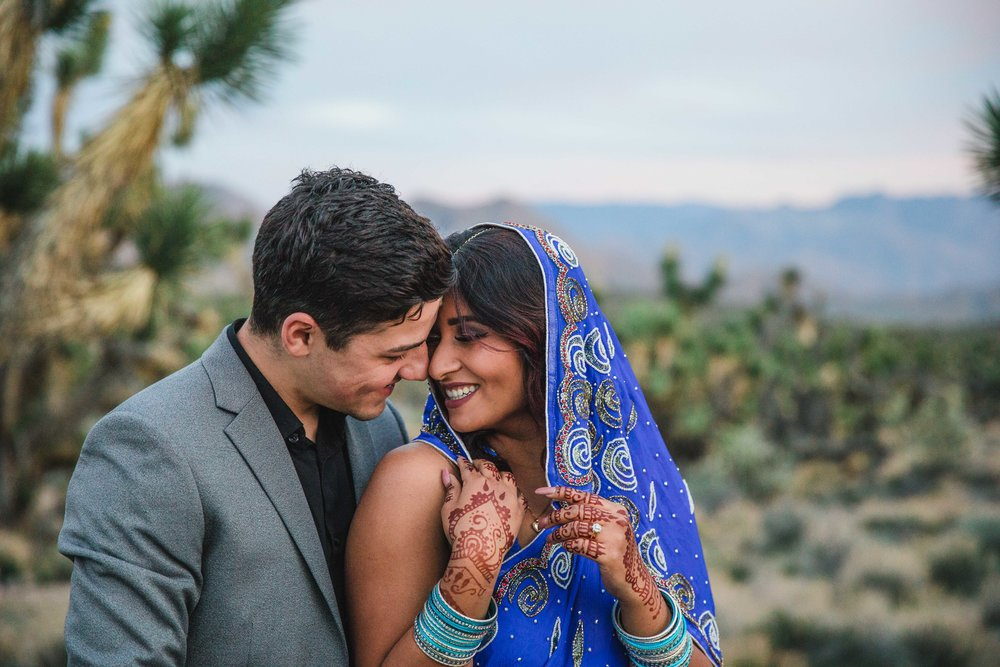Ethnic couple elopes in the Joshua tree nature preserve of Southern UT Kyle Loves Tori Photography