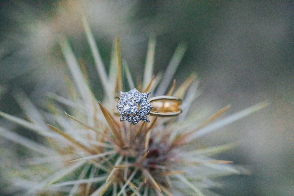 Seven Oaks Fine Jewelers custom wedding ring desert cactus detail Kyle Loves Tori Photography