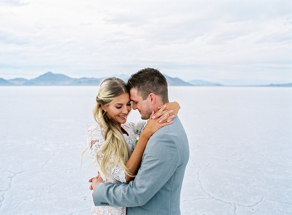 Destination elopement at the bonneville salt flats in Utah on fine art film