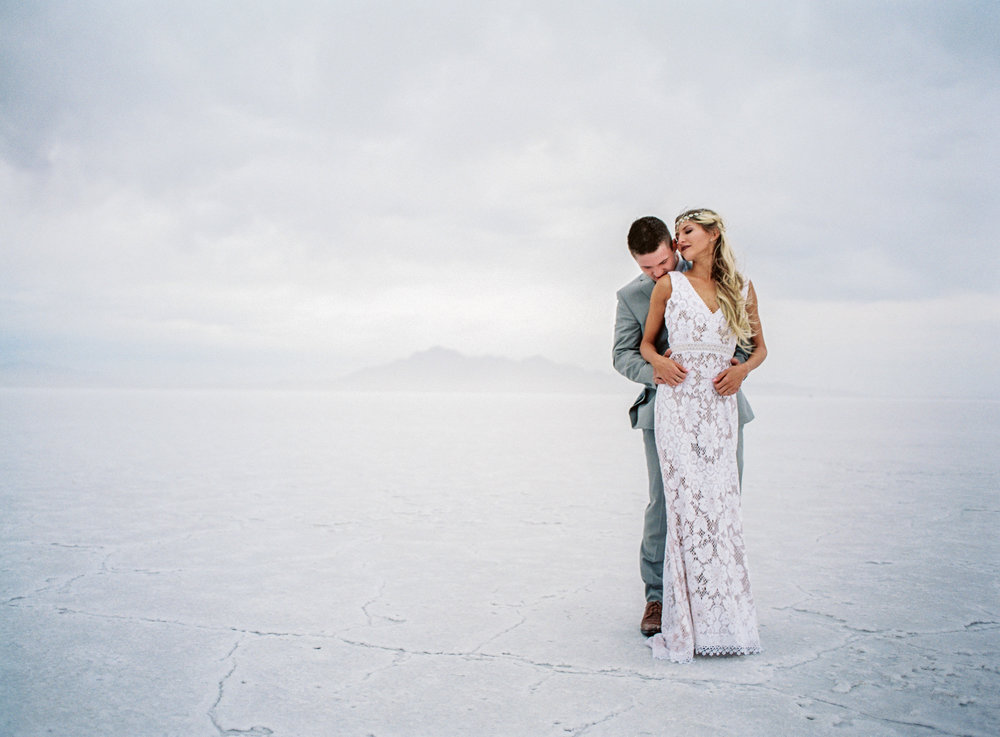 Epic elopement at the Bonneville Salt Flats in Utah on fine art film