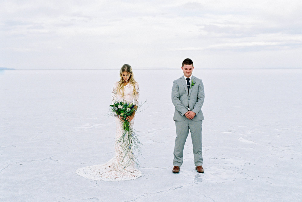 Film wedding photography Salt Flats Utah wedding locations