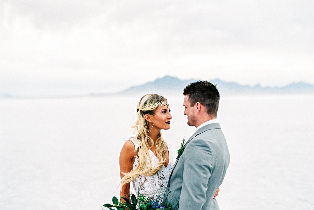 Fine Art film utah elopement photographers Bonneville Salt Flats