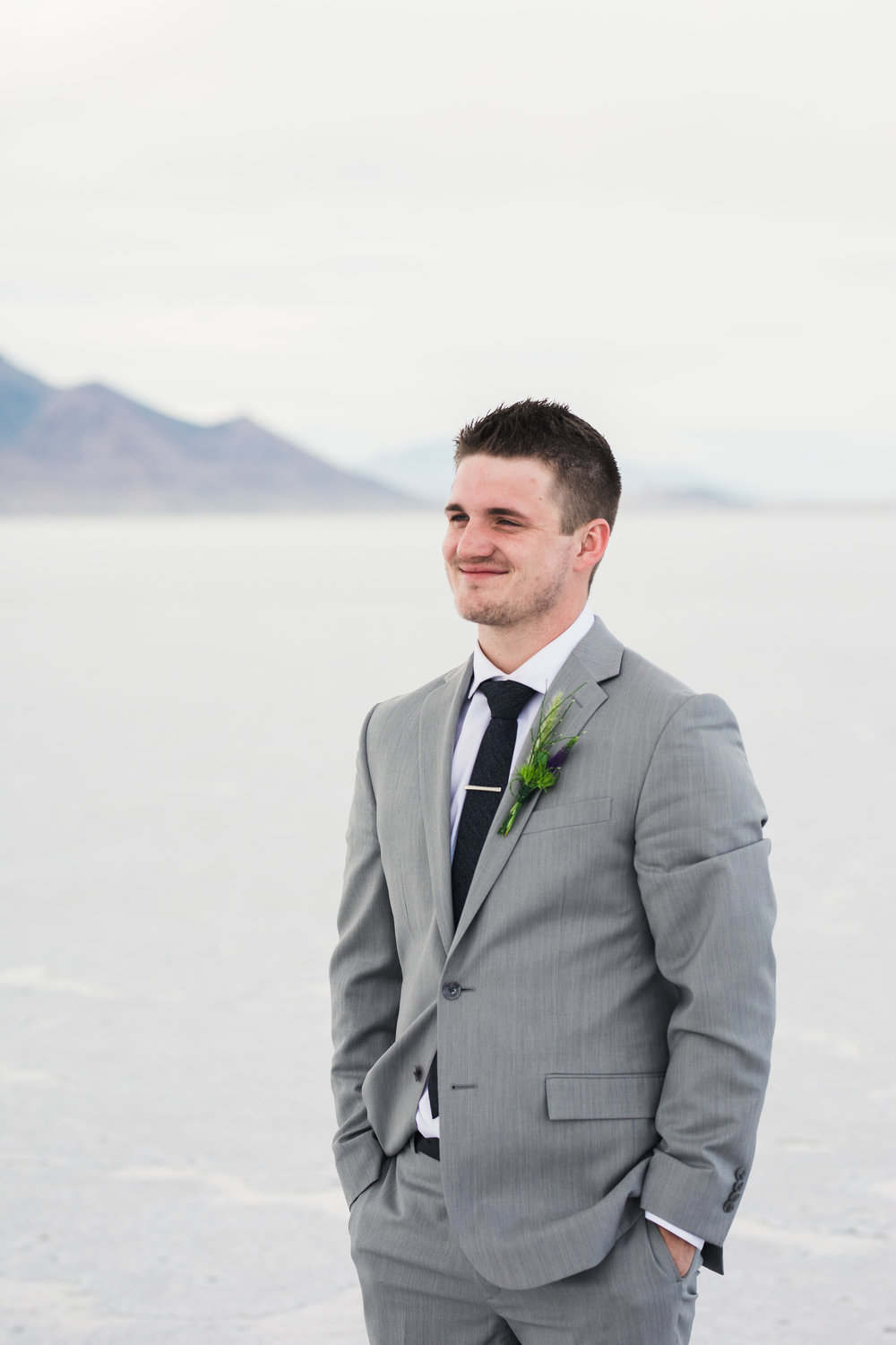 Bonneville Salt Flats groom l floral studio boutonniere SLC Utah wedding