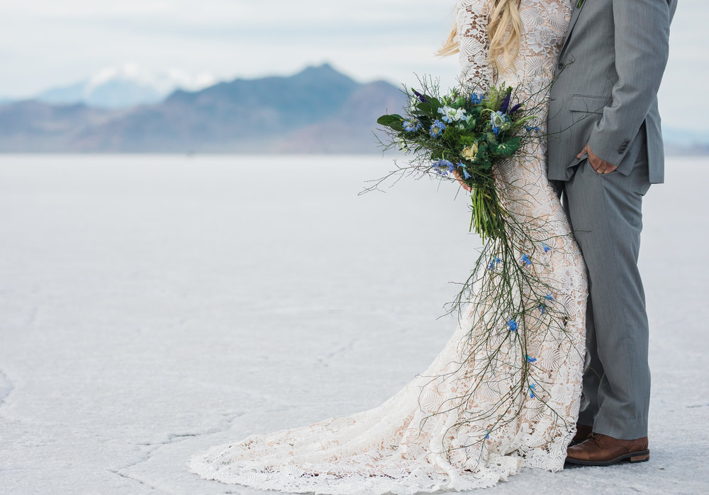 Elizabeth Cooper Design modest wedding dress l floral studio bouquet bonneville salt flats utah bridals