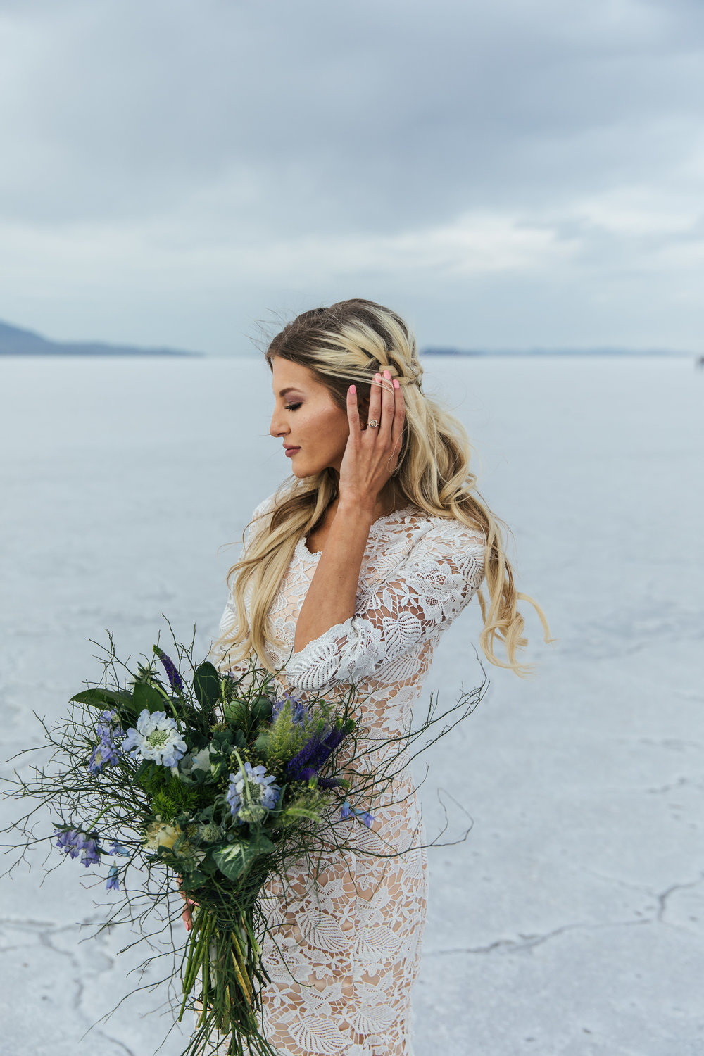 Bridal hair by Hailey Boam L Floral Studio Bouquet Elizabeth Cooper Design Dress Bonneville Salt Flats Bridals