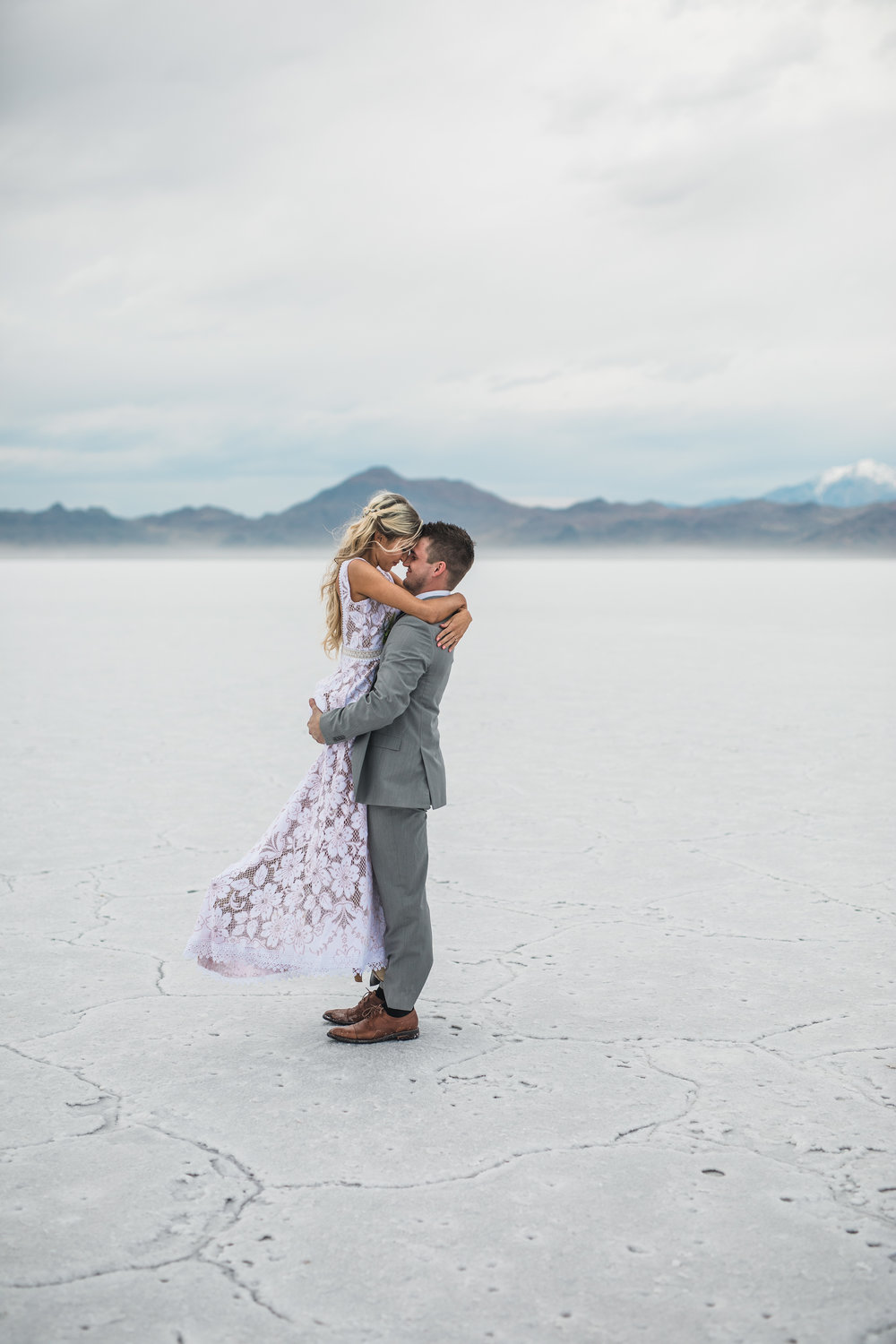 Bonneville Salt Flats adventure wedding husband and wife team
