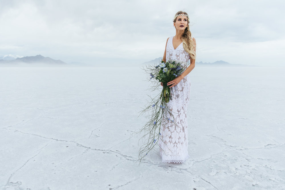Epic adventure bridal portrait Bonneville Salt Flats Utah