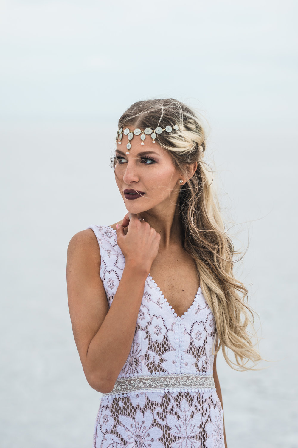 Bridal hair and make up by Hailey Boam Danani Handmade headpiece Saldana Vintage dress Bonneville Salt Flats Elopement