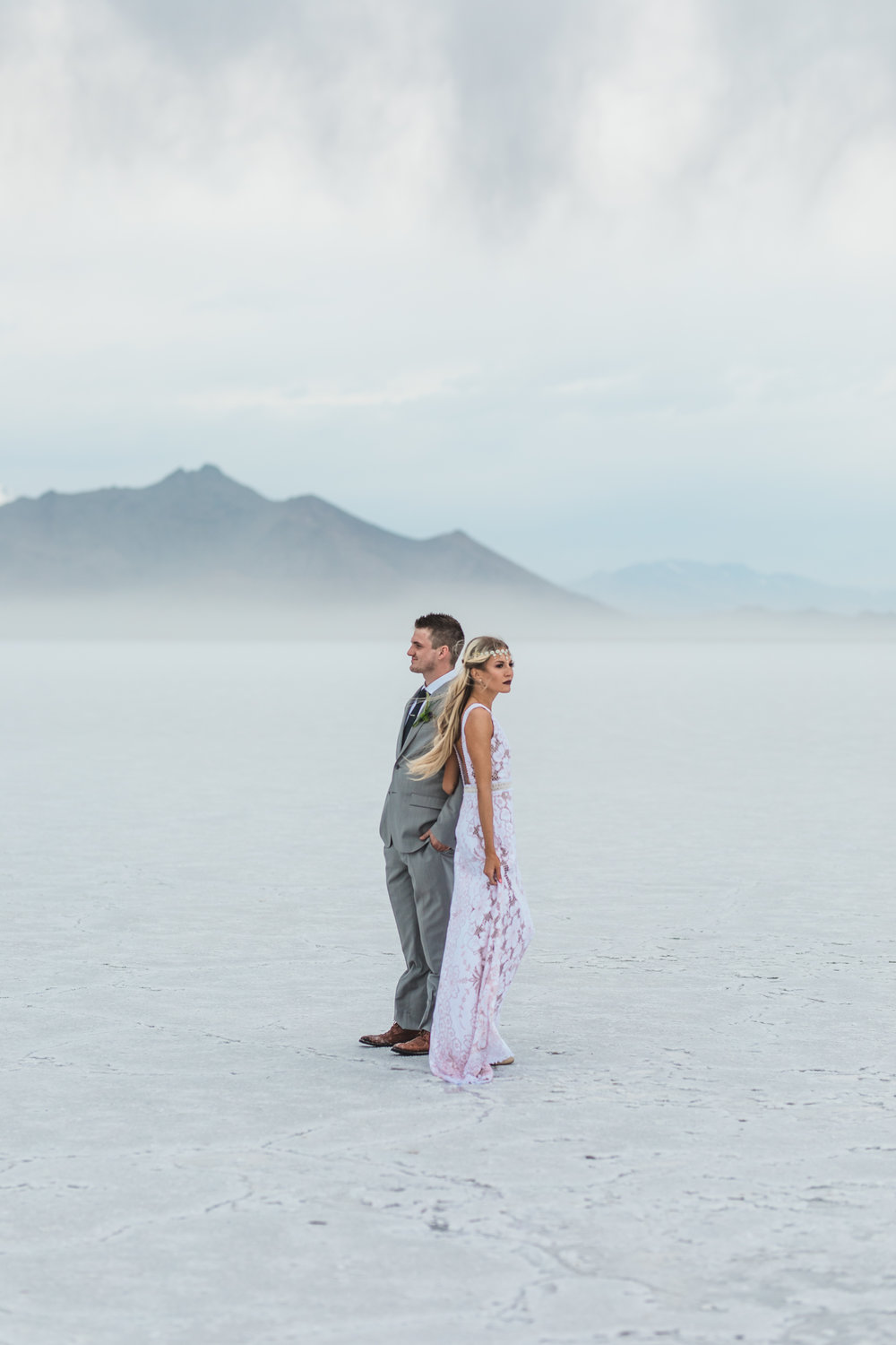 Utah destination elopement photographers Bonneville Salt Flats