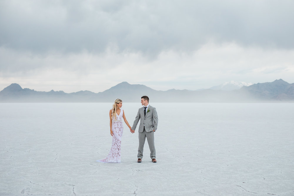 Bonneville Salt Flats adventure destination elopement fine art photographers Kyle Loves Tori