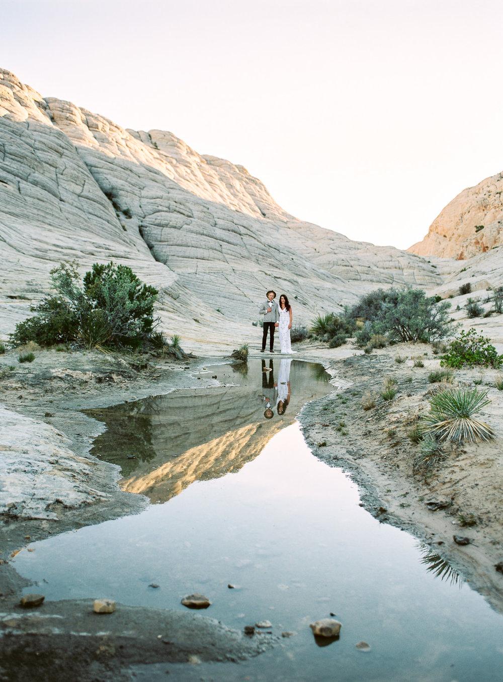 Fine art film bohemian desert elopement Snow Canyon State Park Utah Photographers
