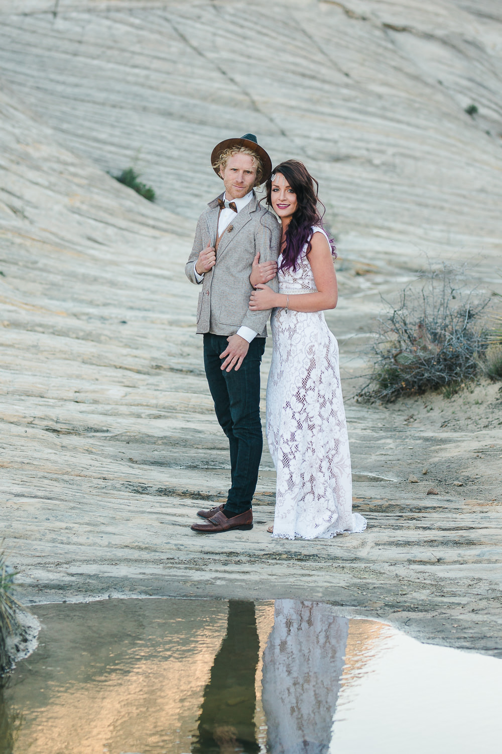 Bohemian styled elopement couple portraits in the desert of Southern Utah