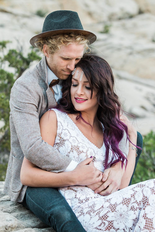 Intimate desert elopement bohemian bride and groom Southern Utah
