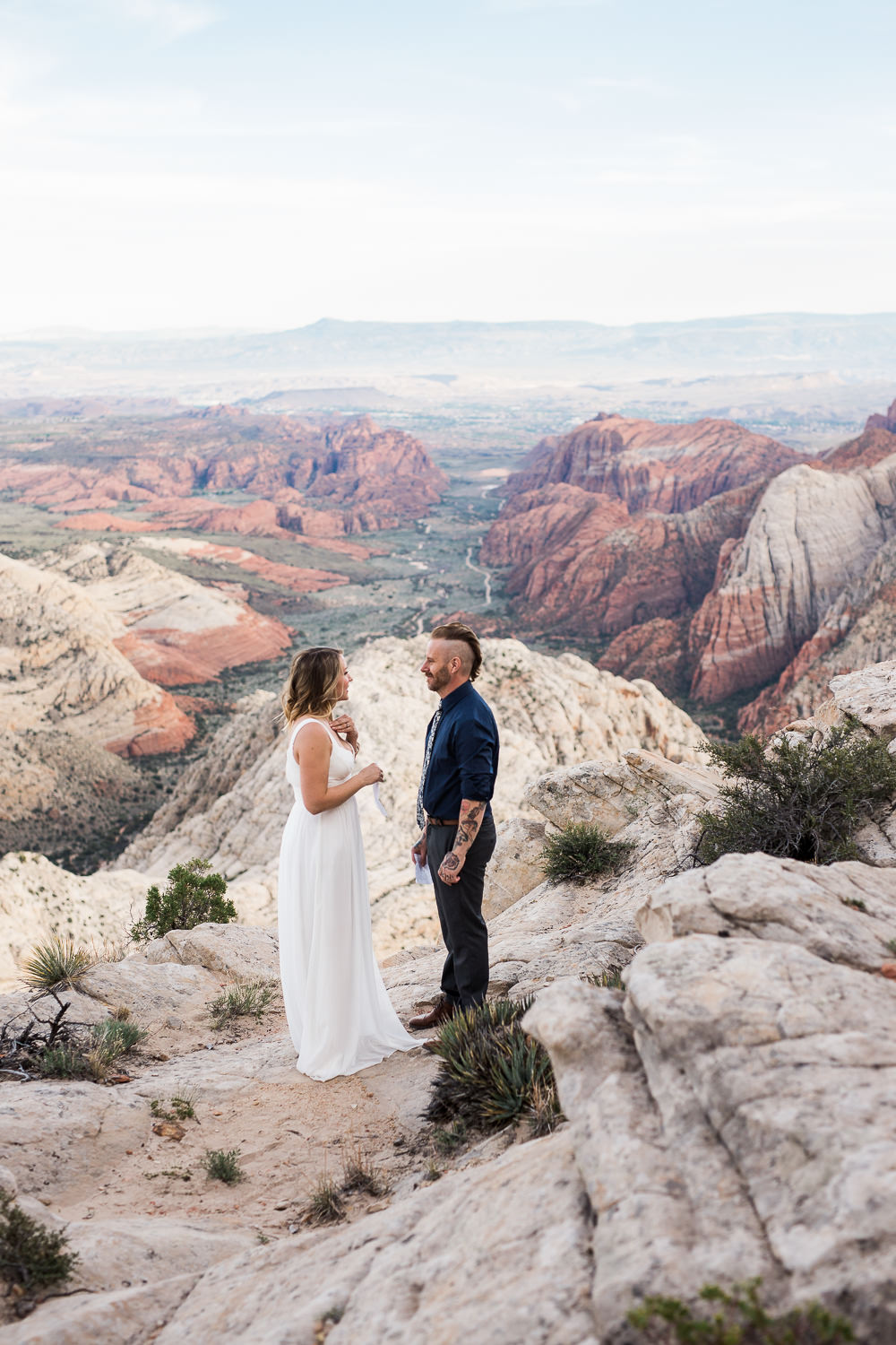 Vow renewal overlooking Snow Canyon State Park Southern Utah