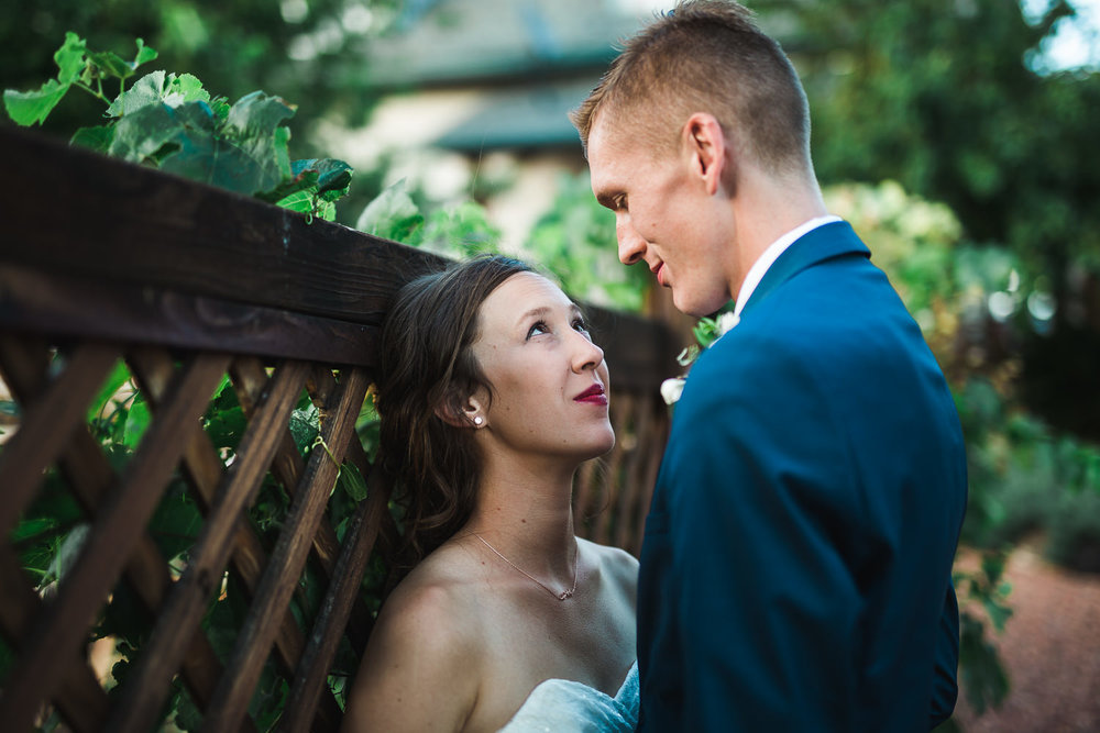 Bride and groom pose for intimate portrait during their Grand Junction Colorado wedding