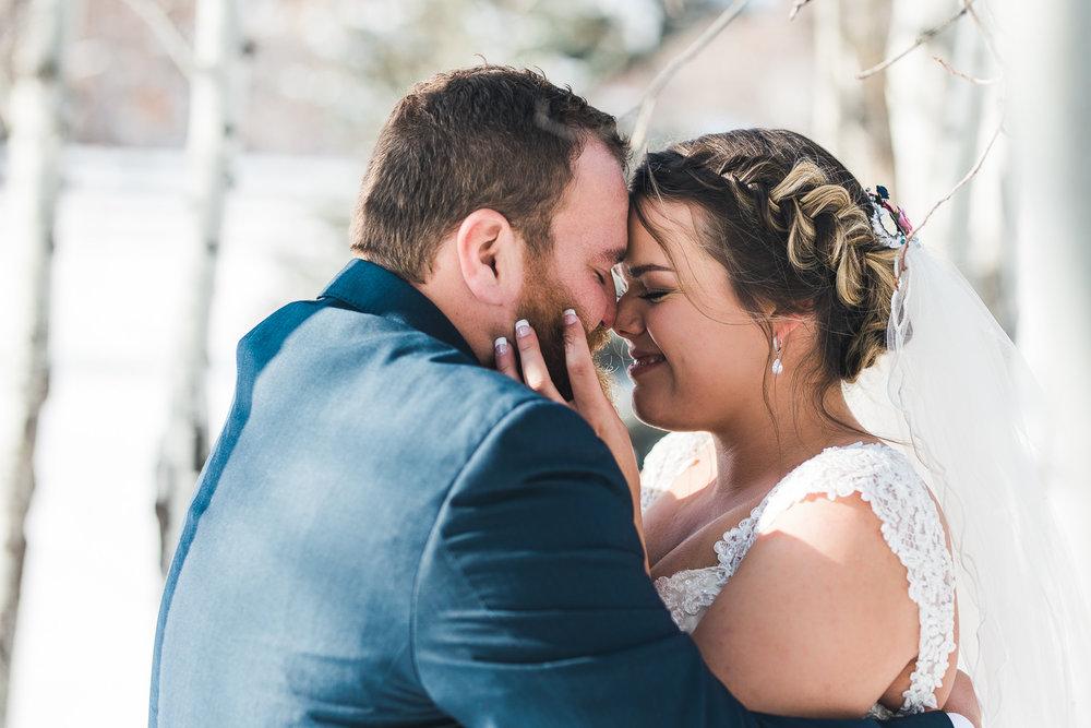 Intimate winter bride and groom wedding photo in Orem Utah