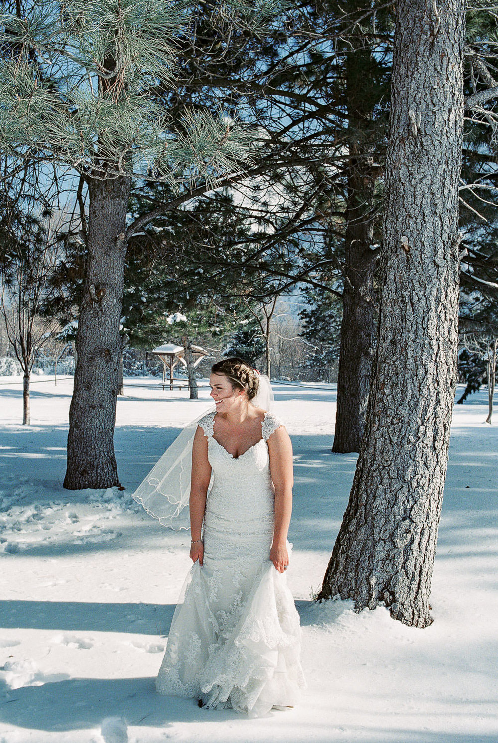 Winter wedding bride in Maggie Sottero dress fine art film photography