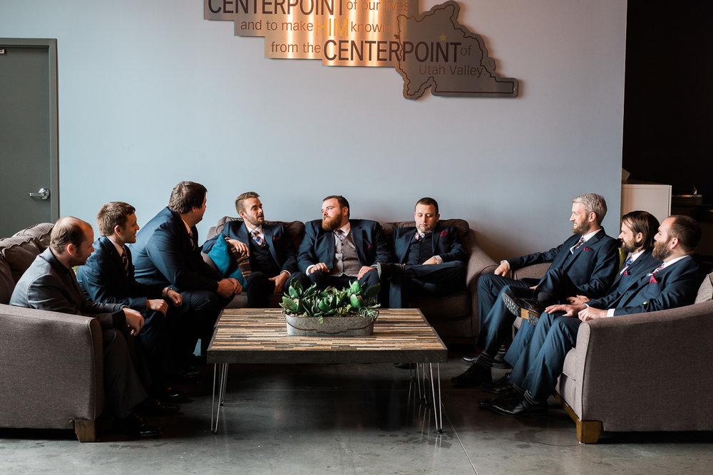 Winter wedding Centerpoint Church groomsmen portraits