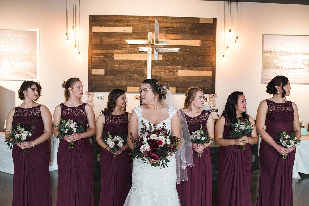 Winter Utah wedding bridesmaids portraits