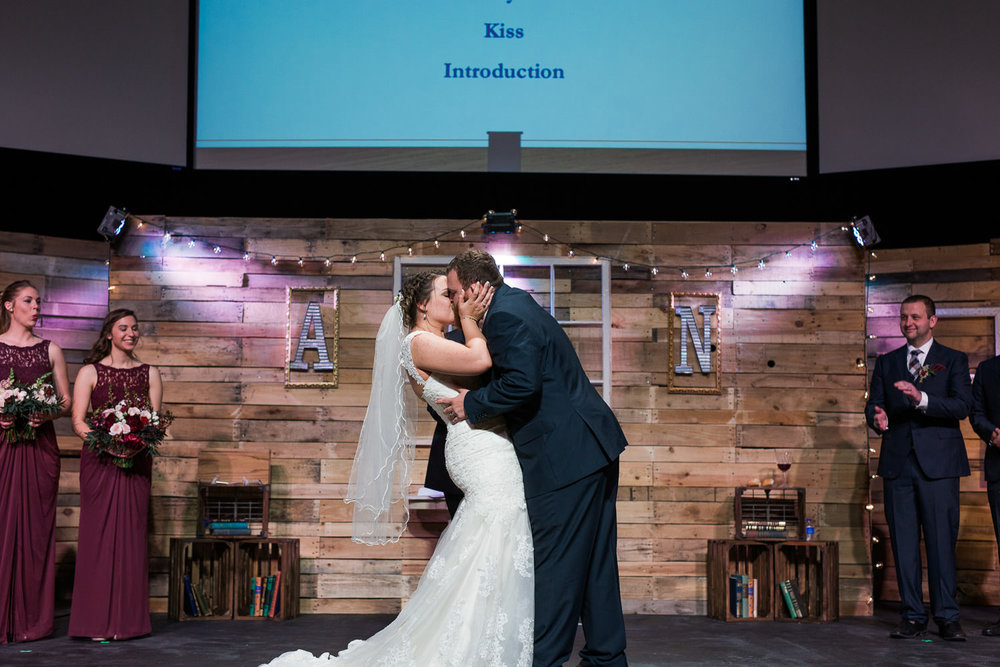 Bride and Groom ceremony first kiss