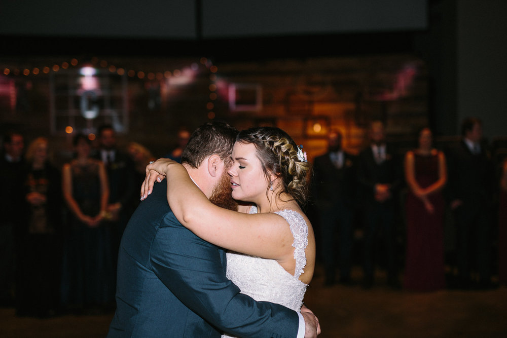 Centerpoint Church winter wedding bride and groom first dance